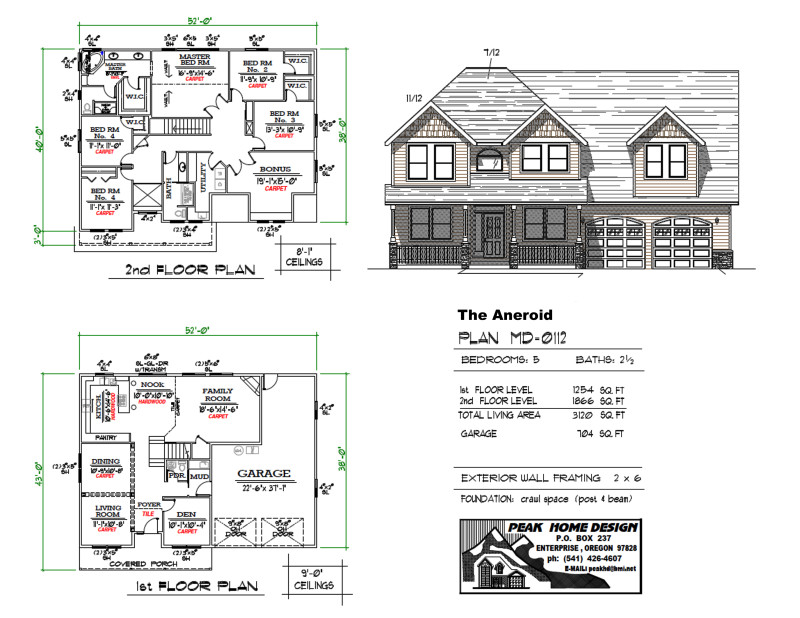 The aneroid oregon house design md0112 peak home for Oregon house plans