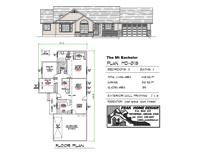 The Mt Bachelor Oregon House Plan MD0118