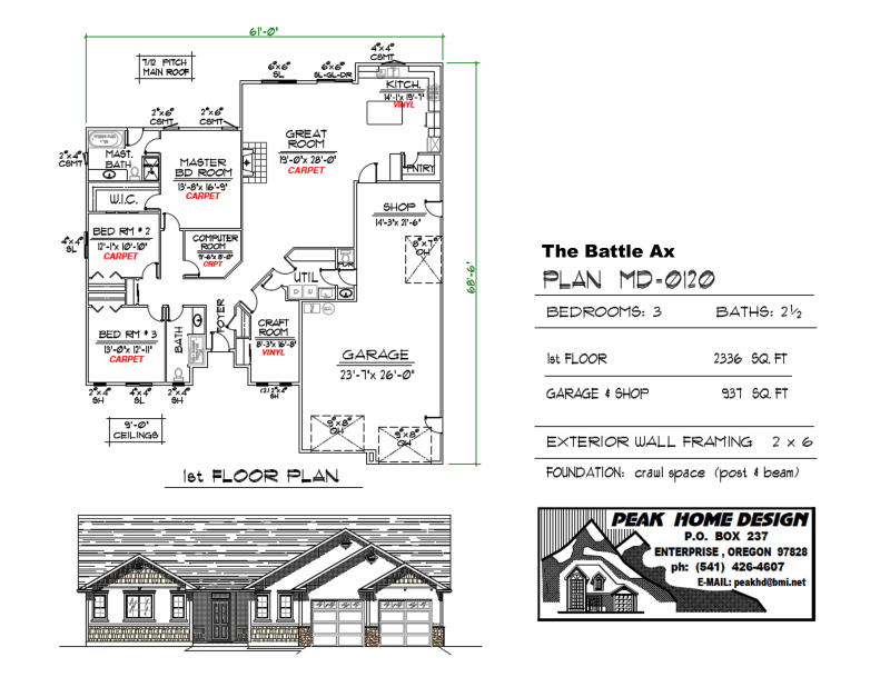THE BATTLE AX OREGON HOUSE DESIGN MD0120