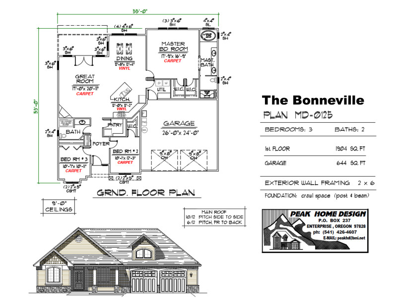 The Bonneville Oregon Home Plan MD0125