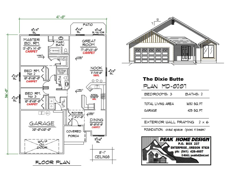 The Dixie Butte Oregon Home Plan MD0207