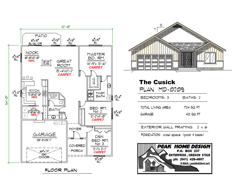 THE CUSICK OREGON HOUSE PLAN MD0209
