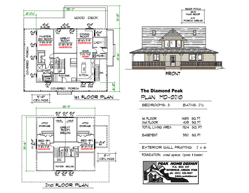 The Diamond Peak Oregon Home Plan MD 0210