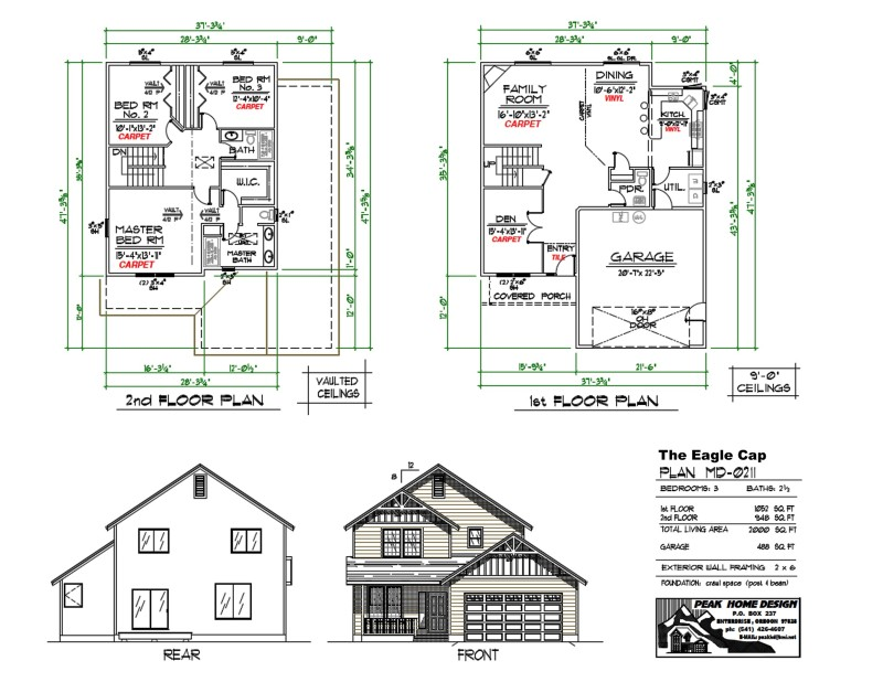 The eagle cap oregon house design md0211 peak home for Oregon house plans