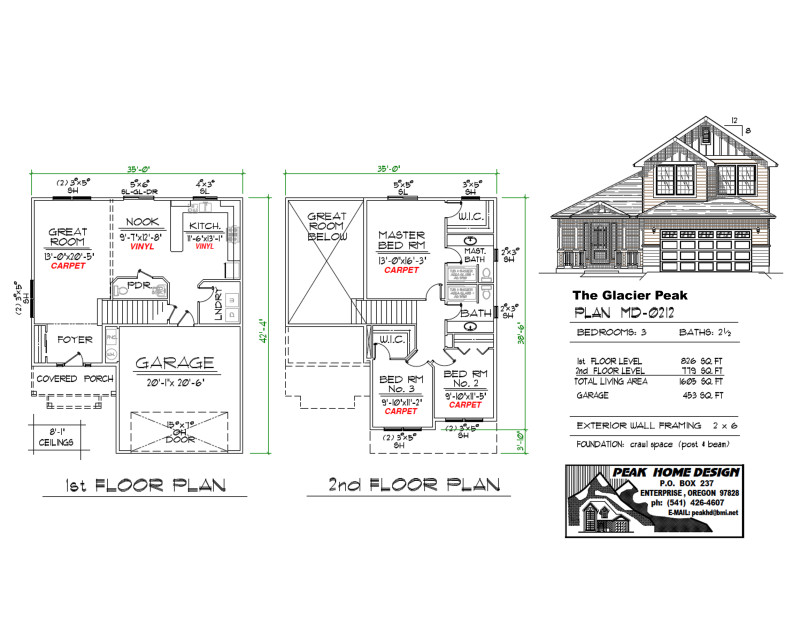 The Glacier Peak Oregon Home Plan MD0212