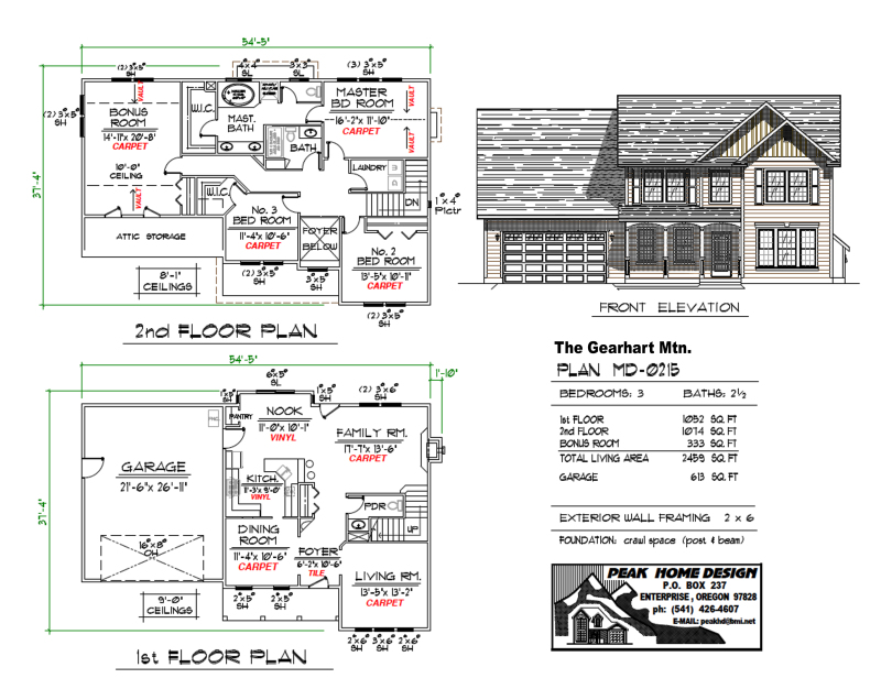 THE GEARHART MTN OREGON HOUSE PLAN MD0215