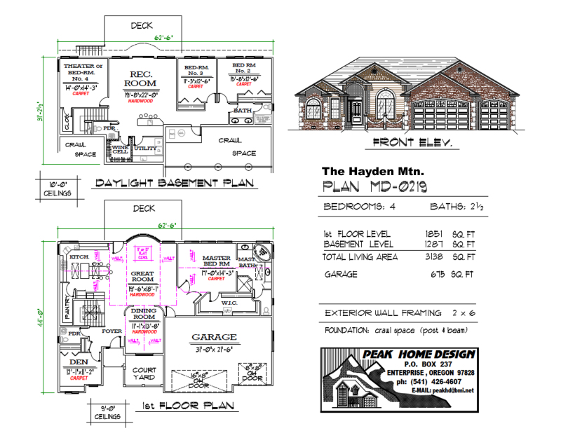 THE HAYDEN MT - OREGON HOUSE PLAN #MD0219