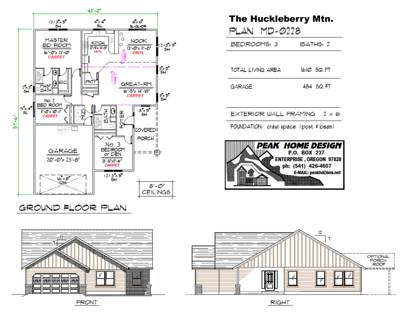 THE HUCKLEBERRY MT OREGON HOUSE PLAN MD0228
