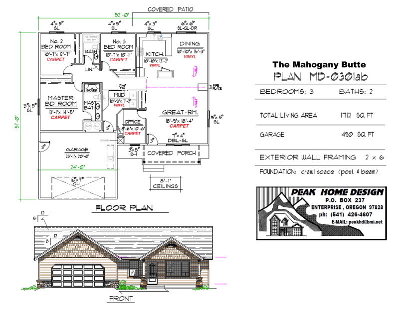 THE MAHOGANY BUTTE OREGON HOUSE DESIGN MD0301ab