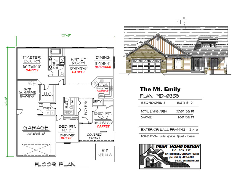 The Mt Emily Oregon Home Plan MD 0305