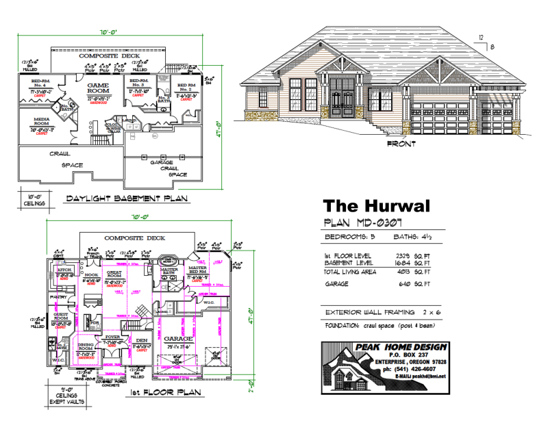 THE HURWAL OREGON HOUSE PLAN #MD0307