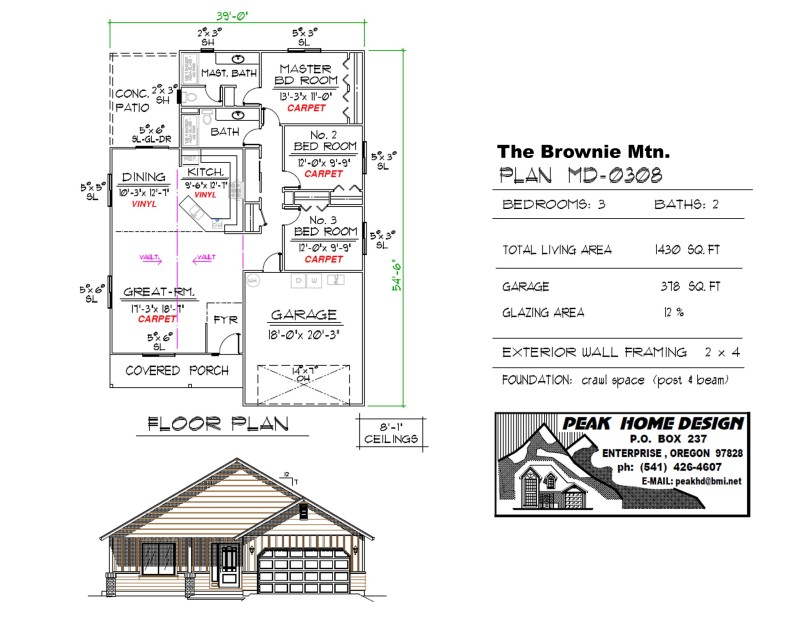 The Brownie Mtn Oregon Home Plan MD 0308