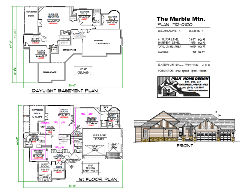 THE MARBLE MTN OREGON HOUSE PLAN #MD0320