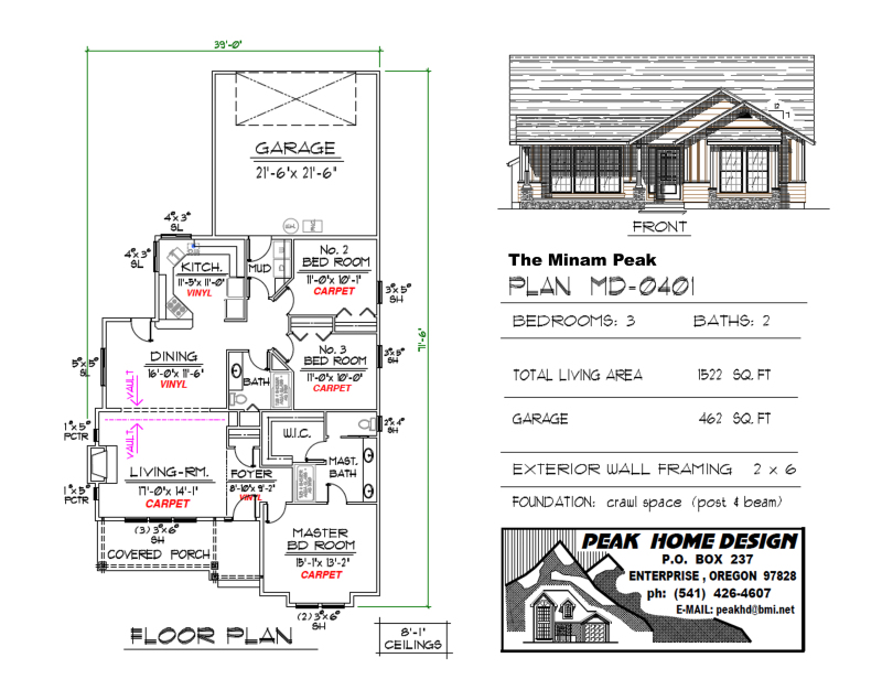 THE MINAM PEAK OREGON HOUSE PLAN MD0401