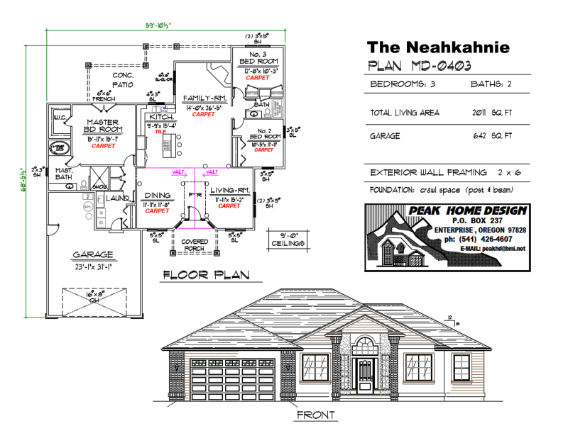 THE NEAHKAHNIE HOUSE DESIGN MD0403