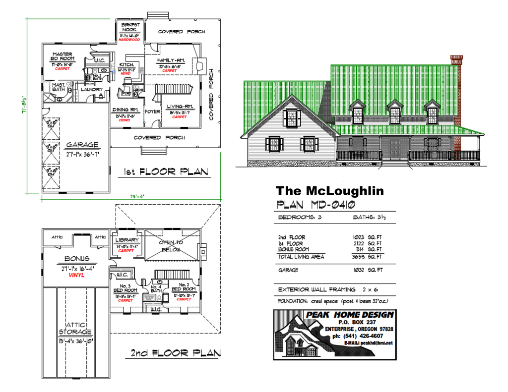 THE MCLOUGHLIN HOUSE PLAN #MD0410