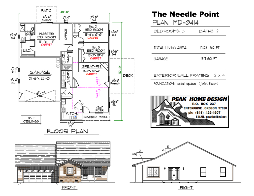 THE NEEDLE POINT OREGON HOUSE DESIGN #MD0414