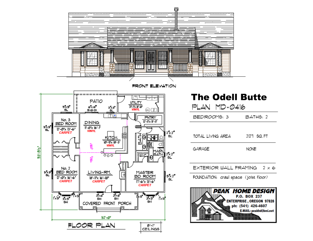 THE ODELL BUTTE OREGON HOUSE PLAN #MD0416