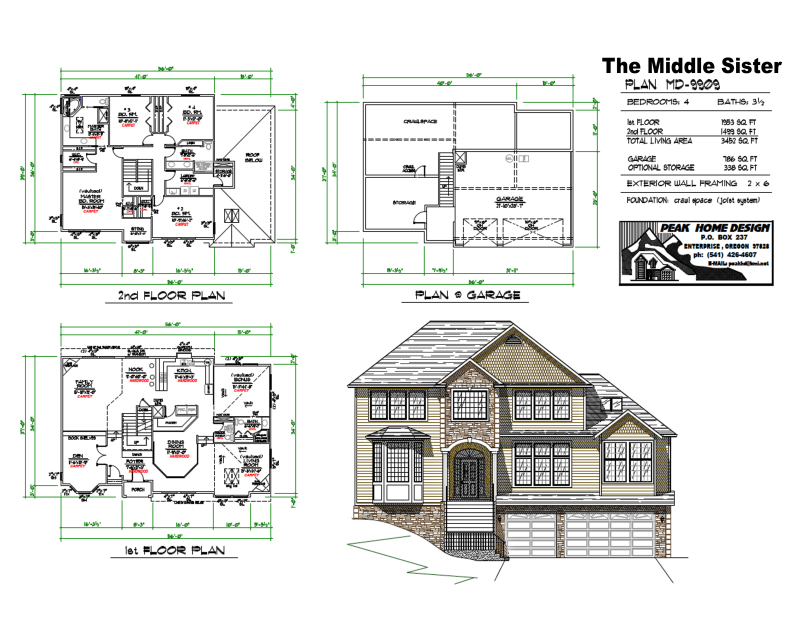 The middle sister oregon house design md9909 peak home for House plans oregon