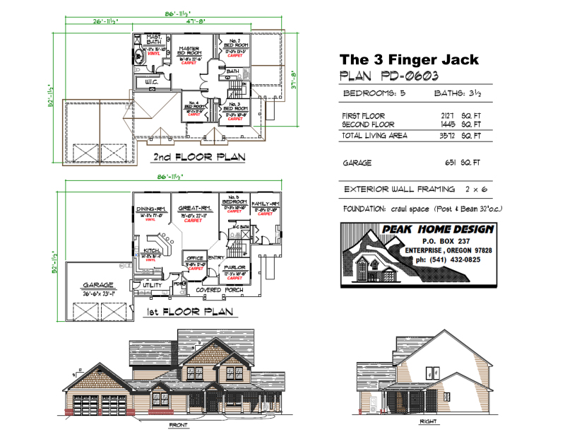 THE 3 FINGER JACK OREGON HOUSE DESIGN #PD0603