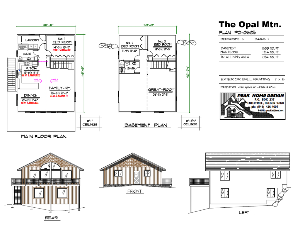 THE OPAL MT - OREGON HOUSE DESIGN #pd0605