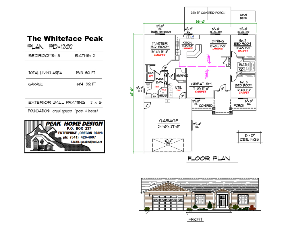 THE WHITEFACE PEAK OREGON HOUSE DESIGN #PD1202
