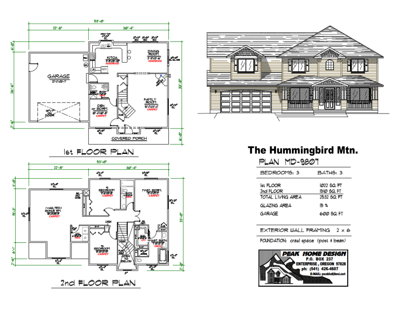 The Hummingbird Oregon House Design MD9807