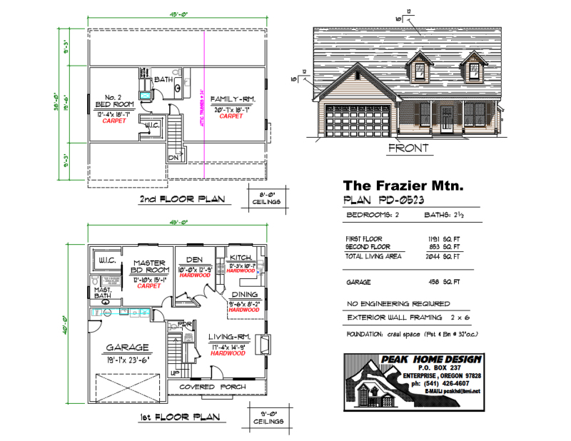 THE FRAZIER OREGON HOUSE PLAN PD0523