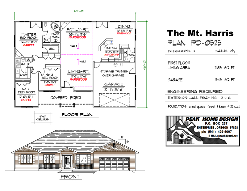 The Mt Harris Oregon House Plan PD0525