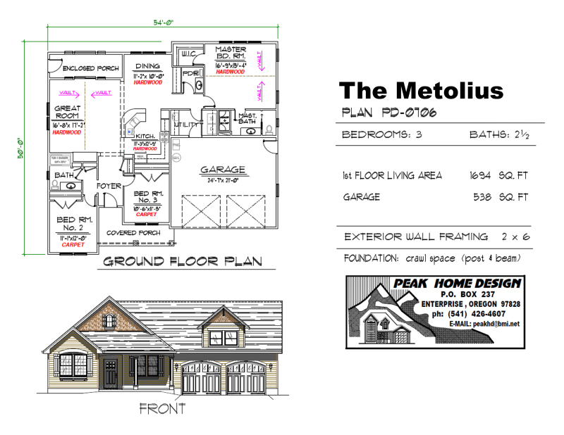 THE METOLIUS OREGON HOUSE PLAN PD0706