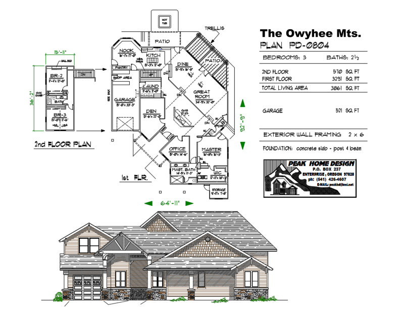 THE OWYHEE MTS OREGON HOUSE DESIGN PD0804