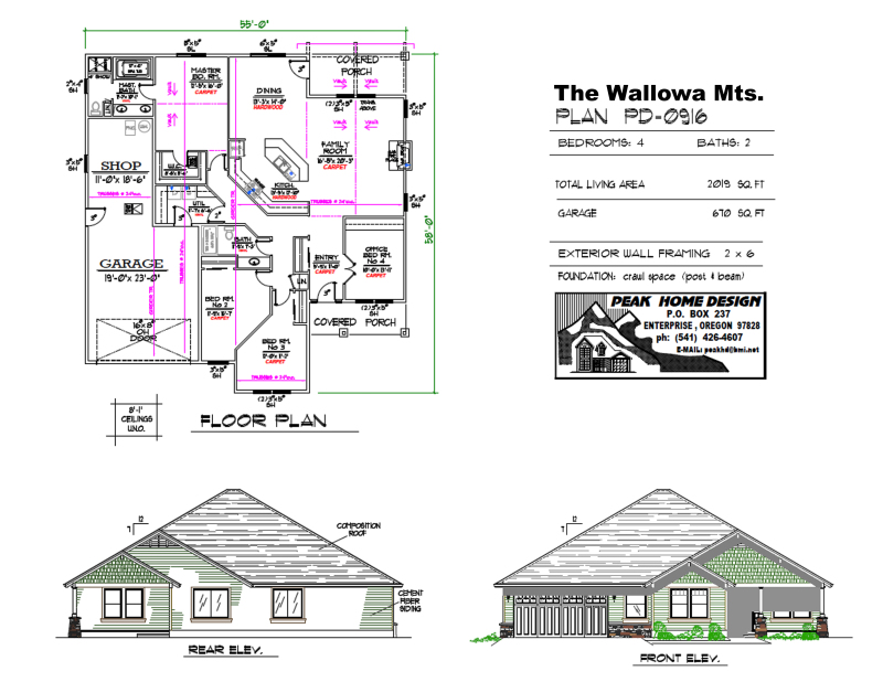 THE WALLOW OREGON HOUSE DESIGN PD0916