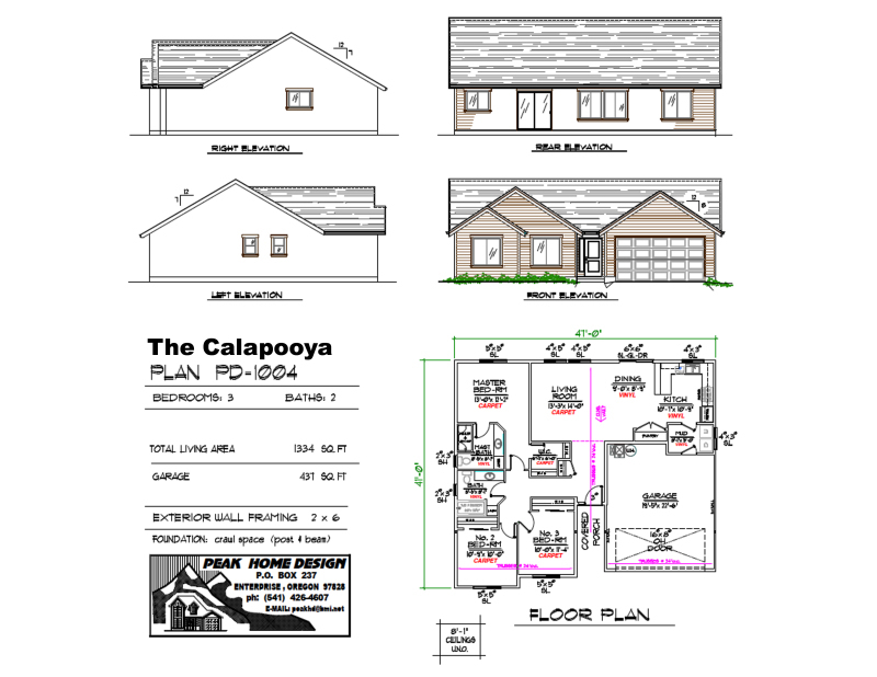 THE CALAPOOYA OREGON HOUSE DESIGN PD1004