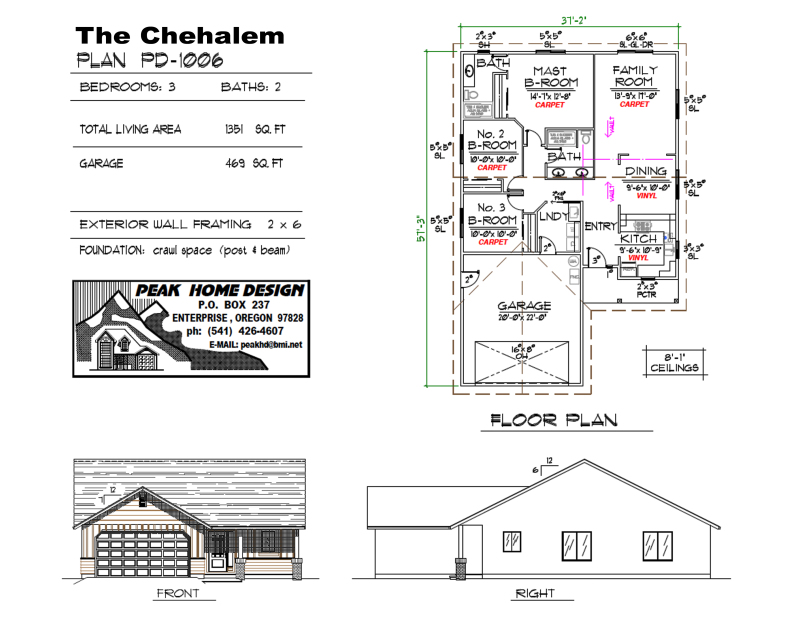 THE CHEHALEM OREGON HOUSE DESIGN PD1006