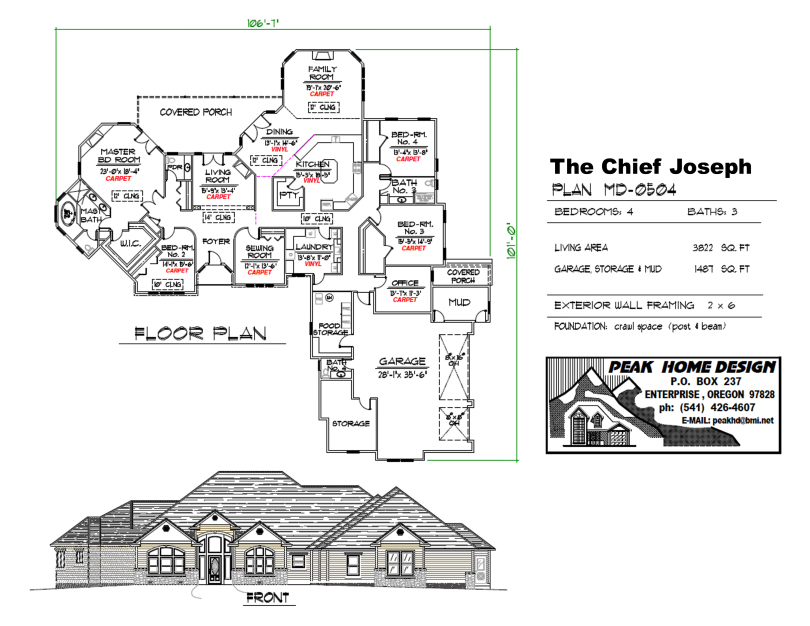 THE CHIEF JOSEPH OREGON HOUSE DESIGN MD0504