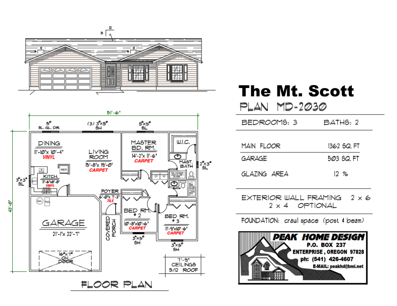 THE MT SCOTT OREGON HOUSE DESIGN MD2030