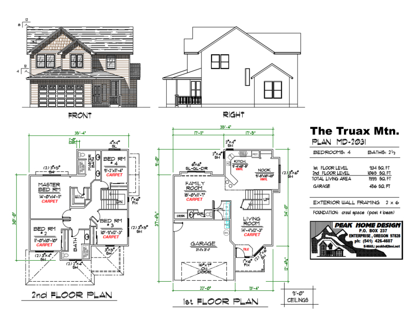 THE TRUAX MT OREGON HOUSE PLAN MD2031