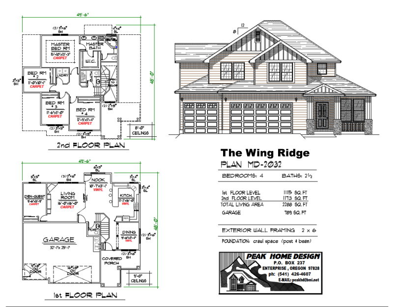 THE WING RIDGE OREGON HOUSE PLAN MD2032