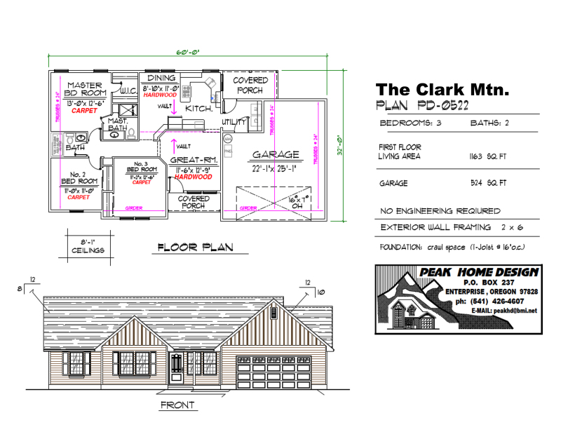 THE CLARK MT OREGON HOUSE DESIGN PD0522