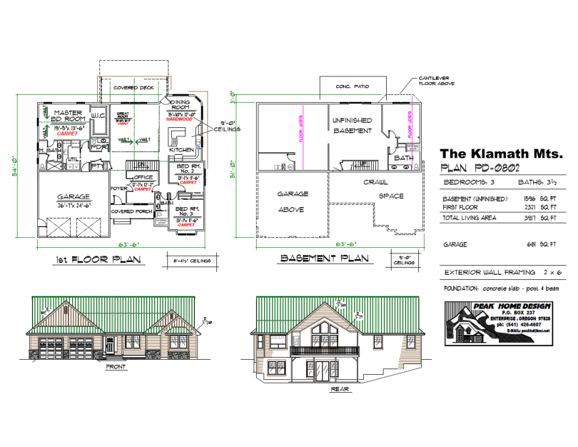 THE KLAMATH MTNS OREGON HOUSE  DESIGN PD0802