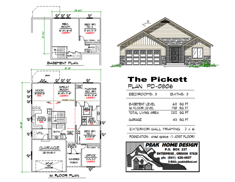 THE PICKETT OREGON HOUSE DESIGN PD0806