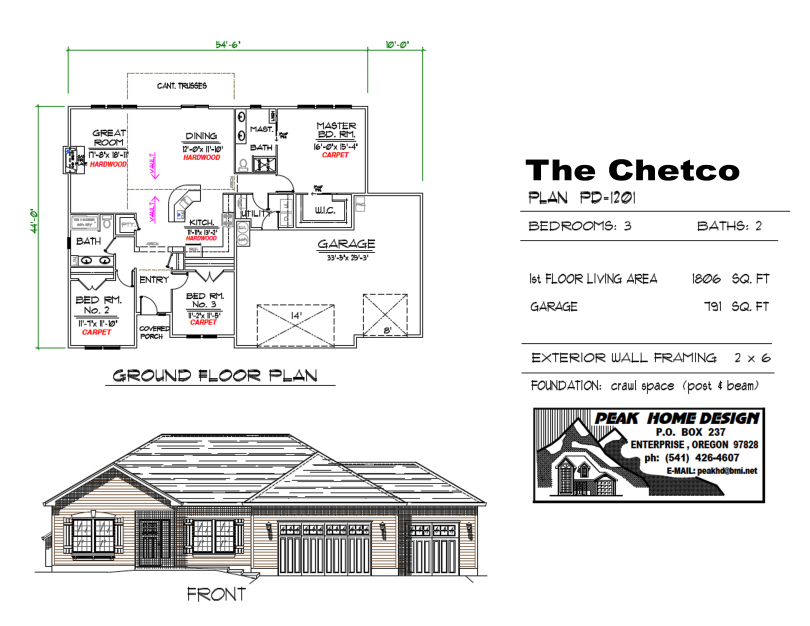 THE CHETCO OREGON HOUSE DESIGN PD1201