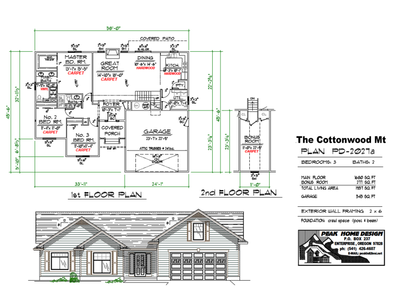 THE COTTONWOOD MT OREGON HOUSE DESIGN PD2027a