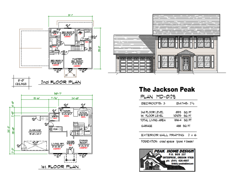 The Jackson Peak Oregon Home Plan MD0129