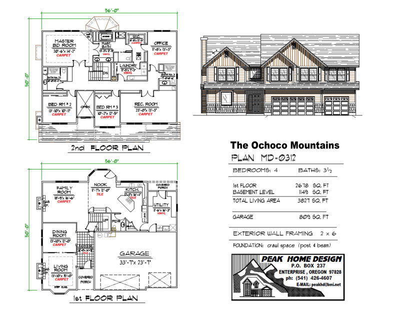 The Ochoco Mountains Oregon Home Plan MD 0312
