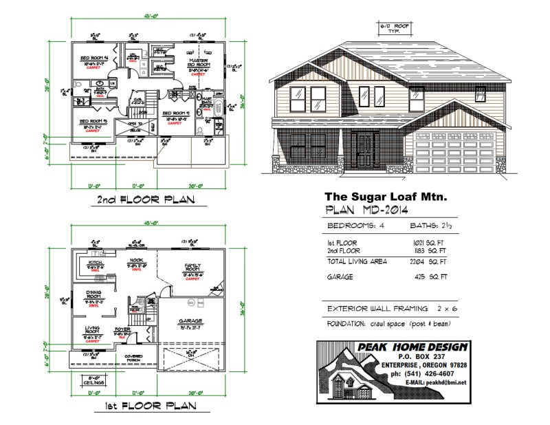 The Sugar Loaf Mt Oregon Home Plan MD 2014