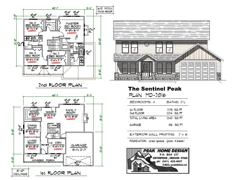 The Sentinel Peak Oregon home Plan MD 2016