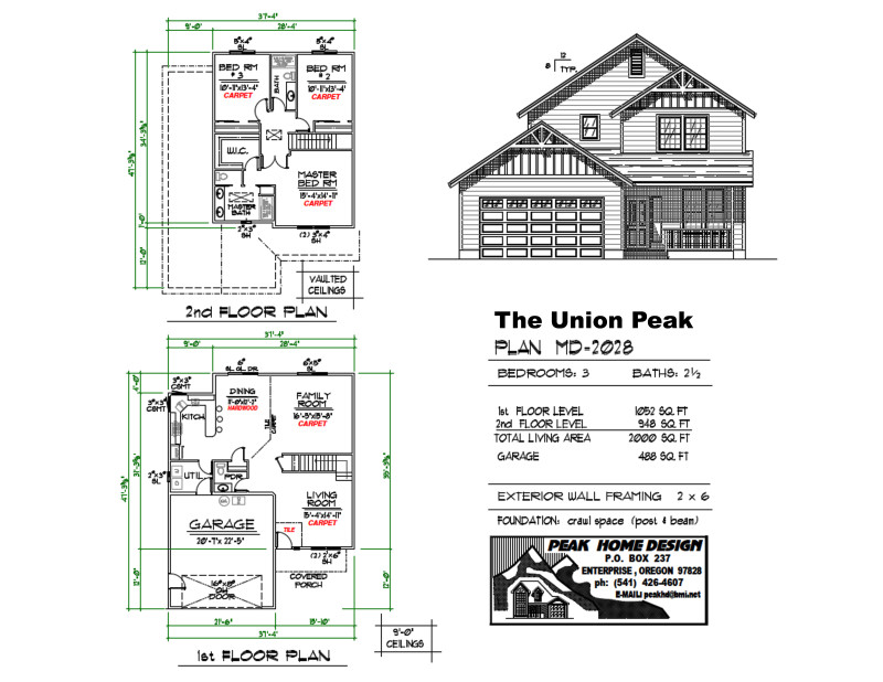 The Union Peak Oregon Home Plan MD 2028