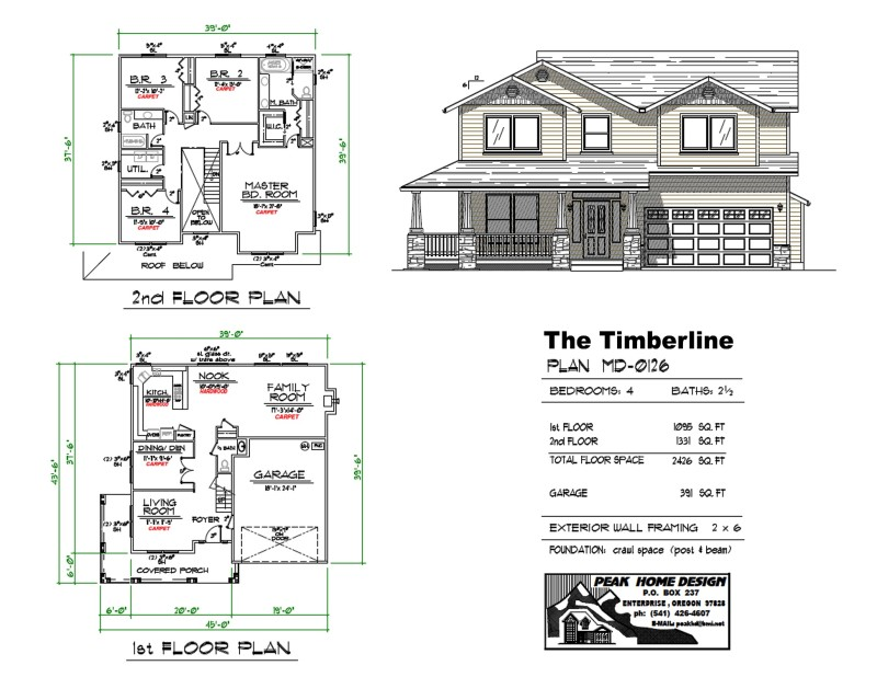 The timberline oregon house design md0126 peak home for Oregon house plans